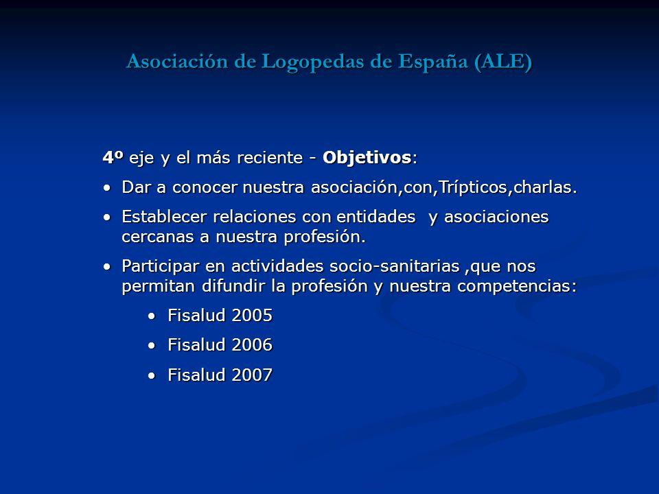 Asociación de Logopedas de España (ALE) 4º eje y el más reciente - Objetivos: Dar a conocer nuestra asociación,con,Trípticos,charlas.Dar a conocer nuestra asociación,con,Trípticos,charlas.