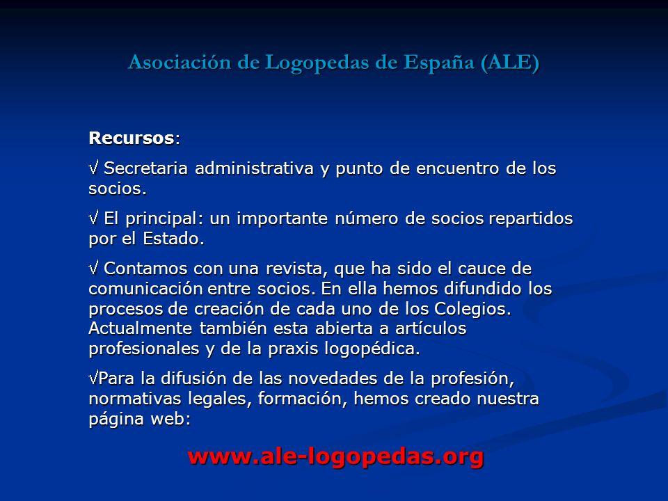 Asociación de Logopedas de España (ALE) Recursos: Secretaria administrativa y punto de encuentro de los socios.