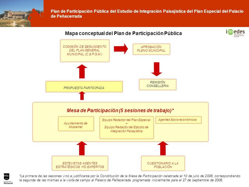 Plan de Participación Pública del Estudio de Integración Paisajística del Plan Especial del Palacio de Peñacerrada Mesa de Participación (5 sesiones d