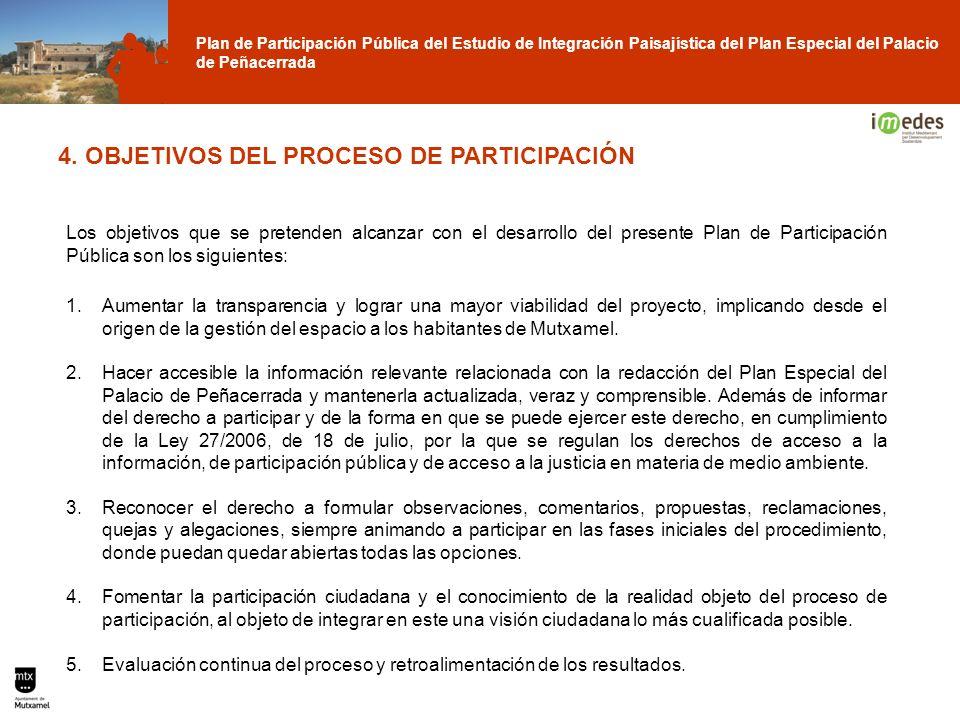 Plan de Participación Pública del Estudio de Integración Paisajística del Plan Especial del Palacio de Peñacerrada 4. OBJETIVOS DEL PROCESO DE PARTICI
