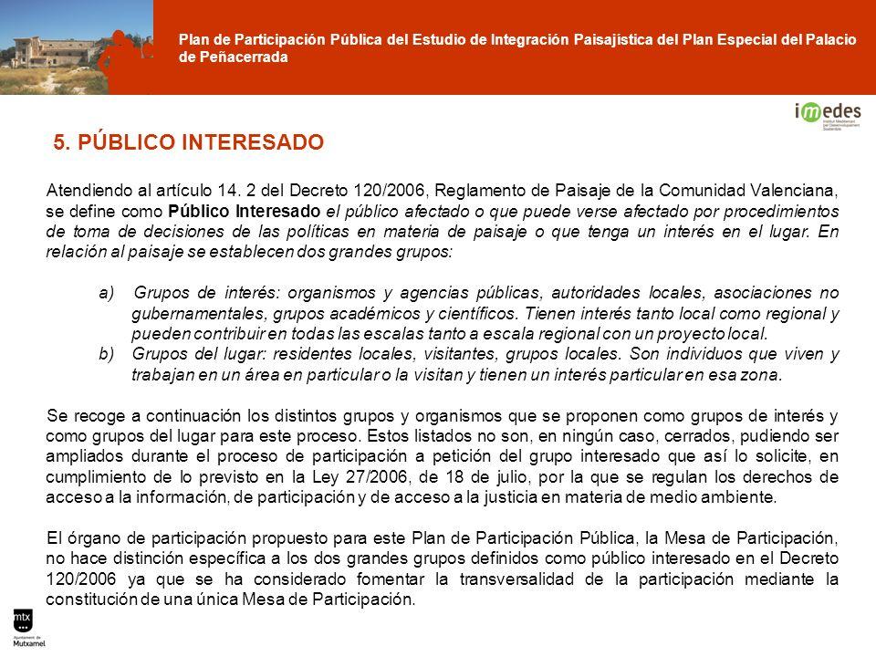 Plan de Participación Pública del Estudio de Integración Paisajística del Plan Especial del Palacio de Peñacerrada 5. PÚBLICO INTERESADO Atendiendo al