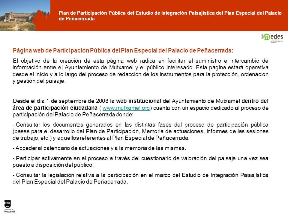 Plan de Participación Pública del Estudio de Integración Paisajística del Plan Especial del Palacio de Peñacerrada Página web de Participación Pública