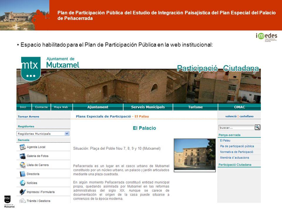 Plan de Participación Pública del Estudio de Integración Paisajística del Plan Especial del Palacio de Peñacerrada Espacio habilitado para el Plan de