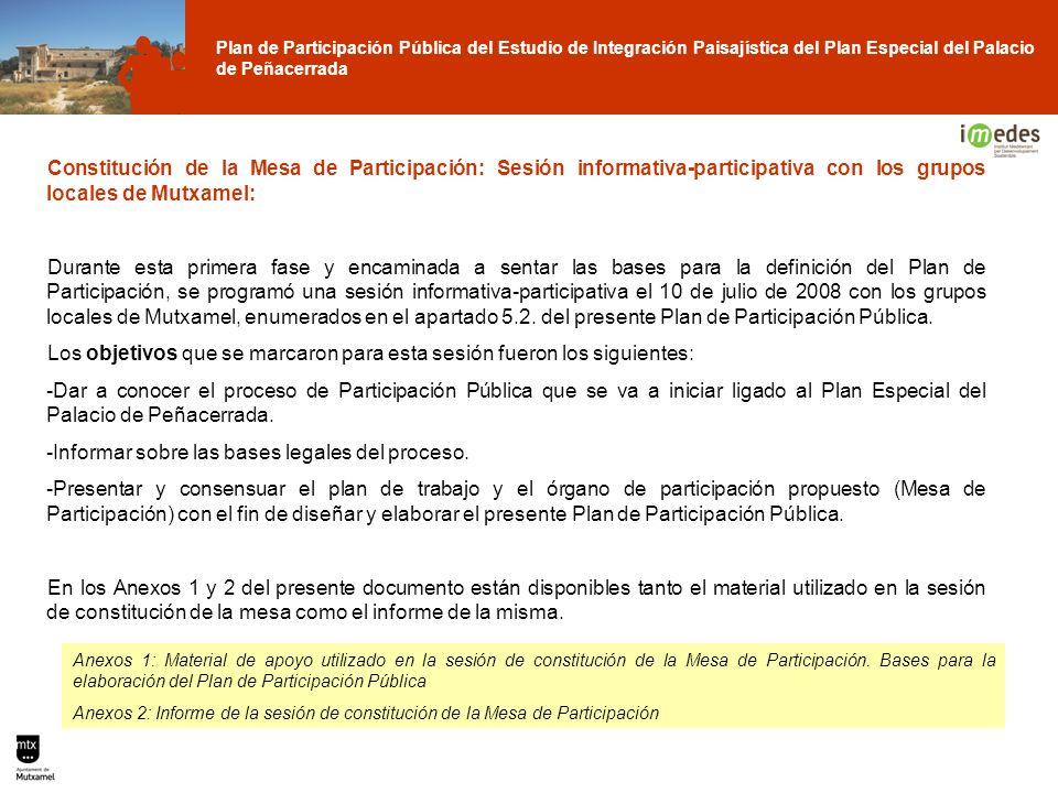 Plan de Participación Pública del Estudio de Integración Paisajística del Plan Especial del Palacio de Peñacerrada Constitución de la Mesa de Particip