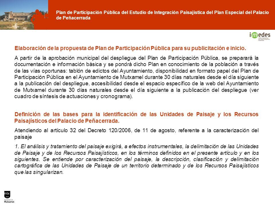 Plan de Participación Pública del Estudio de Integración Paisajística del Plan Especial del Palacio de Peñacerrada Elaboración de la propuesta de Plan