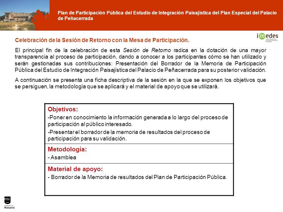 Plan de Participación Pública del Estudio de Integración Paisajística del Plan Especial del Palacio de Peñacerrada Celebración de la Sesión de Retorno