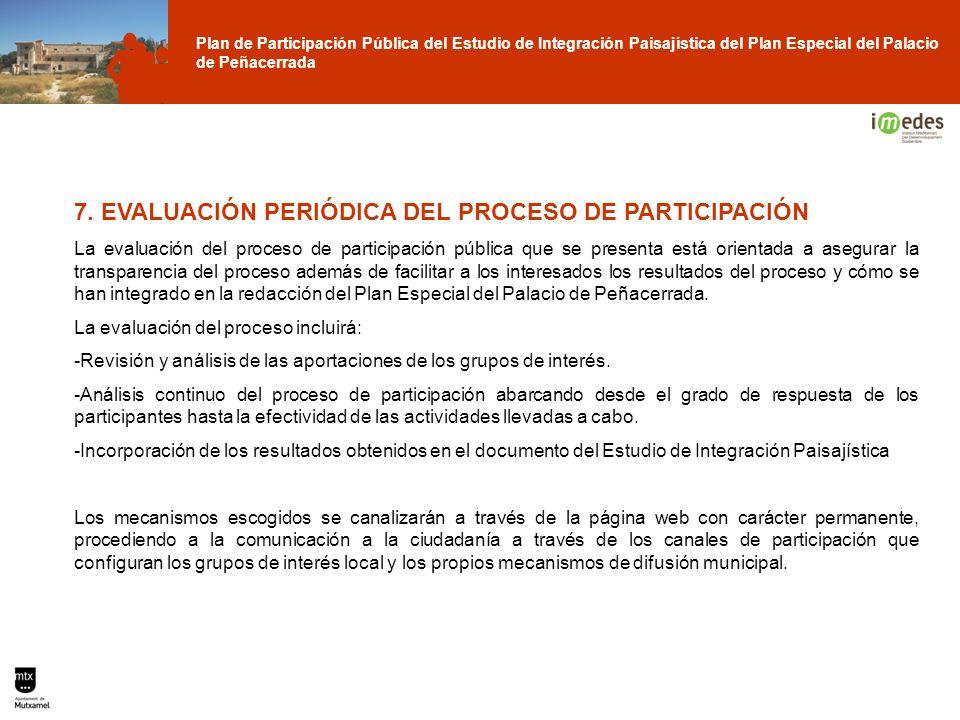 Plan de Participación Pública del Estudio de Integración Paisajística del Plan Especial del Palacio de Peñacerrada 7. EVALUACIÓN PERIÓDICA DEL PROCESO
