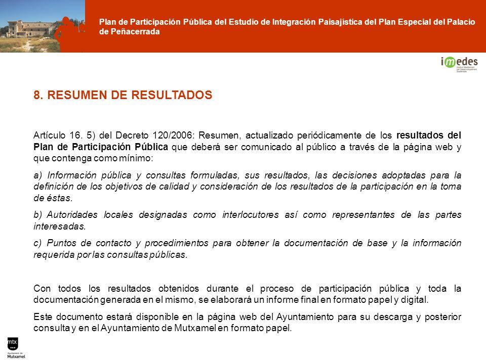 Plan de Participación Pública del Estudio de Integración Paisajística del Plan Especial del Palacio de Peñacerrada 8. RESUMEN DE RESULTADOS Artículo 1