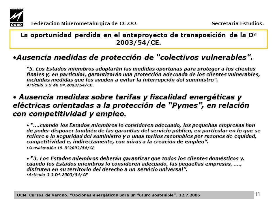 11 Federación Minerometalúrgica de CC.OO. Secretaria Estudios.