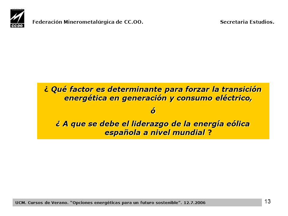 13 Federación Minerometalúrgica de CC.OO. Secretaria Estudios.