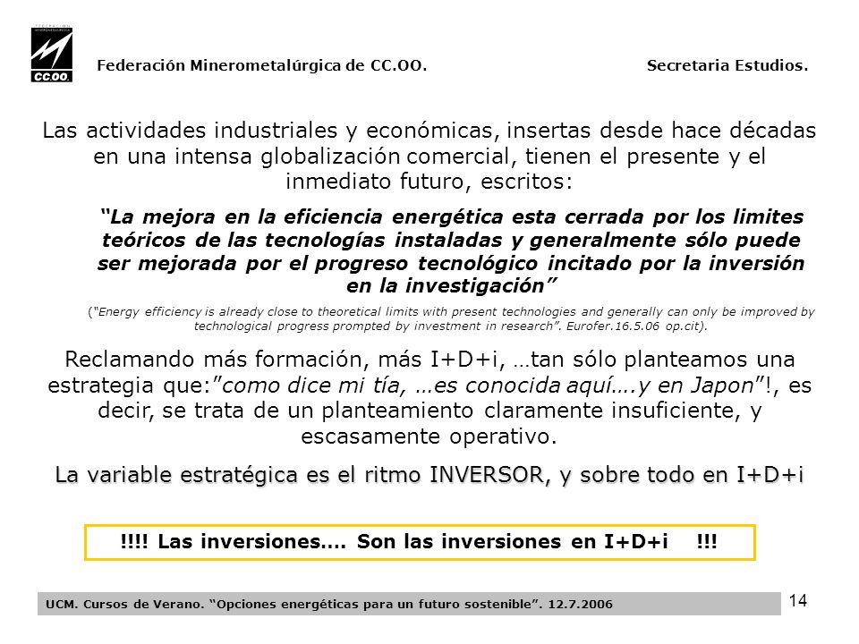 14 Federación Minerometalúrgica de CC.OO. Secretaria Estudios.