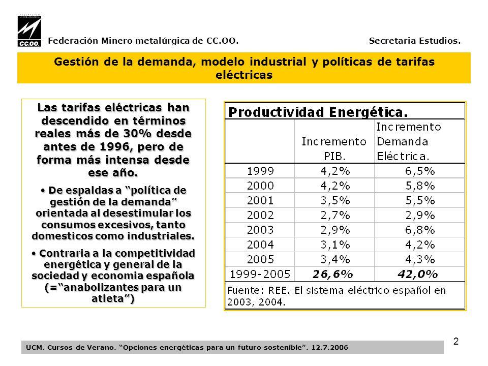 13 Federación Minerometalúrgica de CC.OO.Secretaria Estudios.