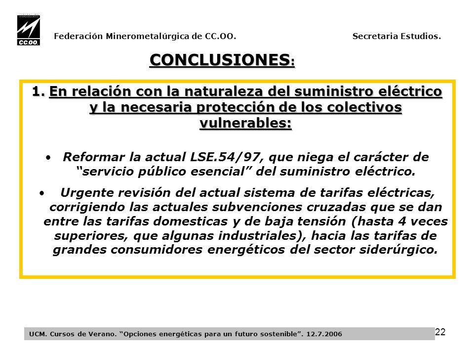 22 Federación Minerometalúrgica de CC.OO. Secretaria Estudios.