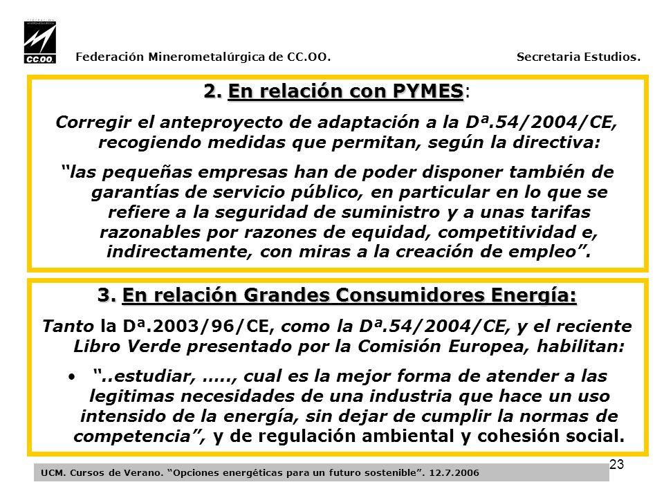 23 Federación Minerometalúrgica de CC.OO. Secretaria Estudios.