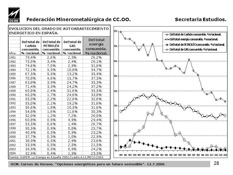 28 Federación Minerometalúrgica de CC.OO. Secretaria Estudios.