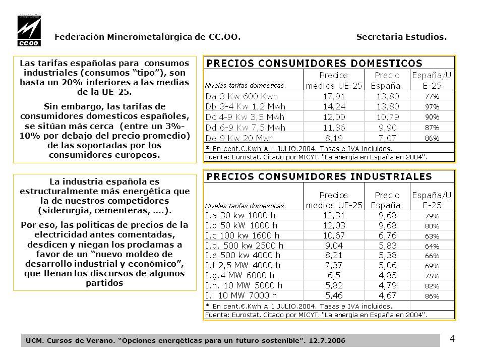 15 Federación Minerometalúrgica de CC.OO.Secretaria Estudios.