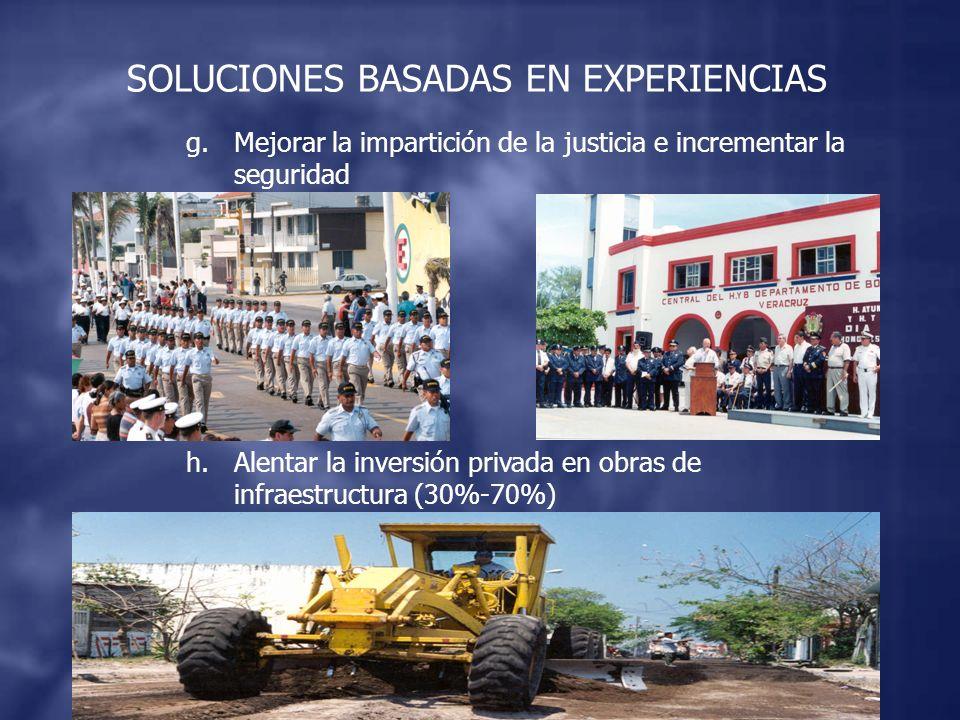 g.Mejorar la impartición de la justicia e incrementar la seguridad h.Alentar la inversión privada en obras de infraestructura (30%-70%) SOLUCIONES BASADAS EN EXPERIENCIAS