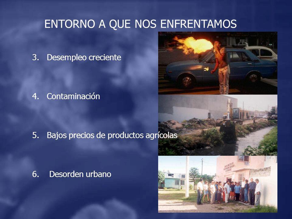 ENTORNO A QUE NOS ENFRENTAMOS 3.Desempleo creciente 4.Contaminación 5.Bajos precios de productos agrícolas 6.