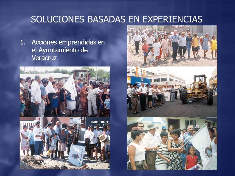1.Acciones emprendidas en el Ayuntamiento de Veracruz SOLUCIONES BASADAS EN EXPERIENCIAS