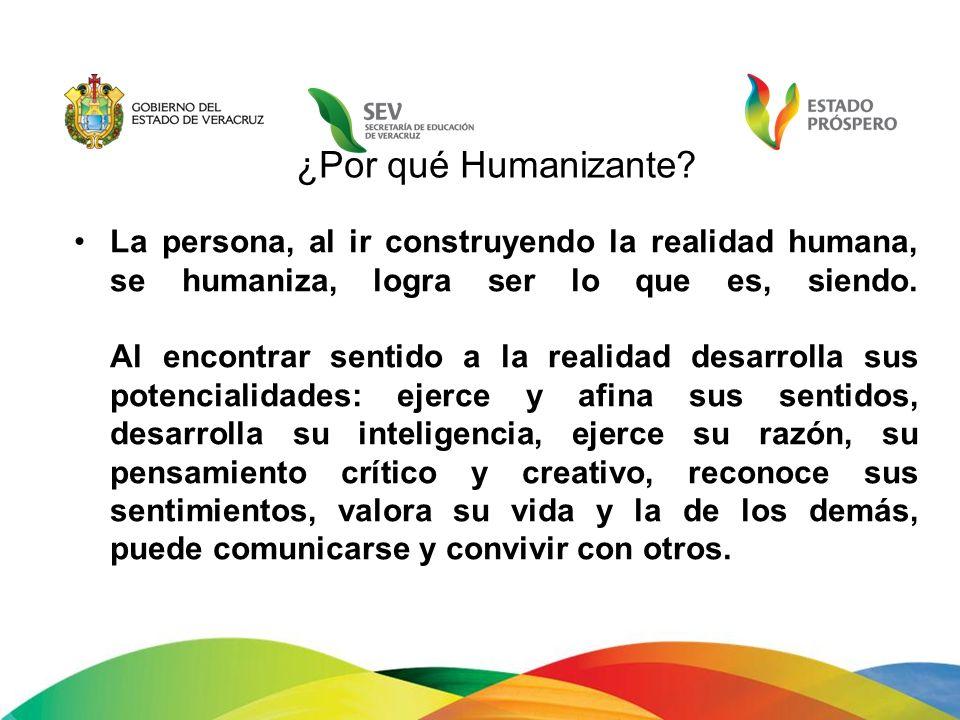 La persona, al ir construyendo la realidad humana, se humaniza, logra ser lo que es, siendo. Al encontrar sentido a la realidad desarrolla sus potenci