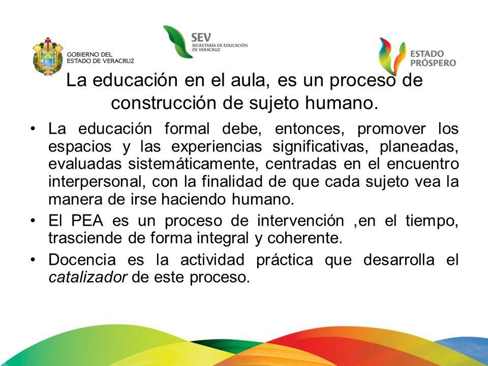 La educación en el aula, es un proceso de construcción de sujeto humano. La educación formal debe, entonces, promover los espacios y las experiencias