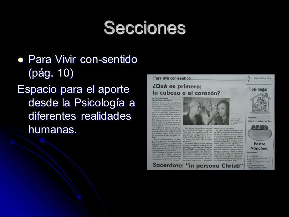 Secciones Para Vivir con-sentido (pág. 10) Para Vivir con-sentido (pág.