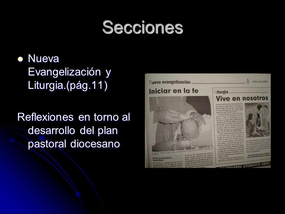 Secciones Nueva Evangelización y Liturgia.(pág.11) Nueva Evangelización y Liturgia.(pág.11) Reflexiones en torno al desarrollo del plan pastoral diocesano