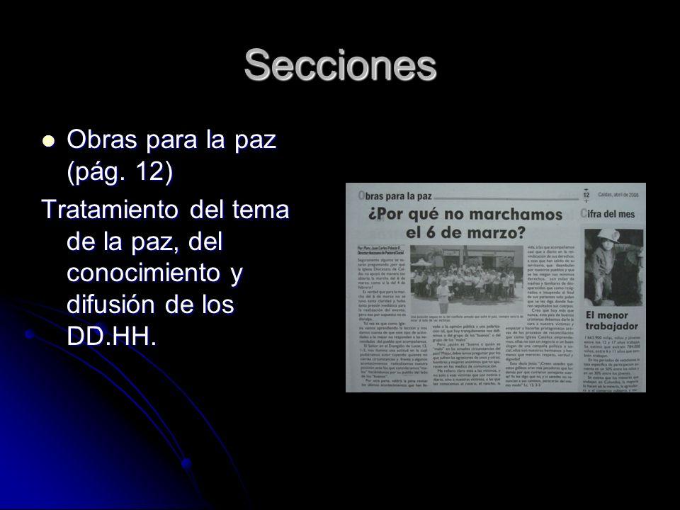 Secciones Obras para la paz (pág. 12) Obras para la paz (pág.