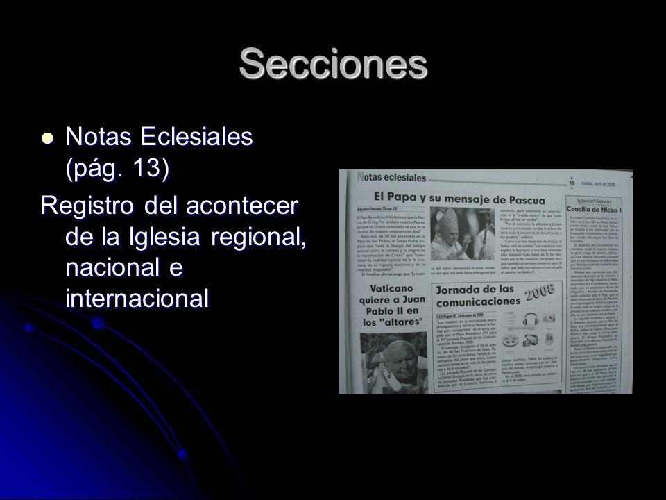 Secciones Notas Eclesiales (pág. 13) Notas Eclesiales (pág.