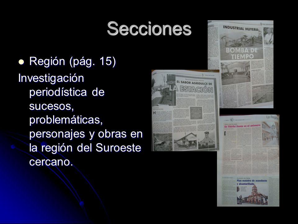 Secciones Región (pág. 15) Región (pág.