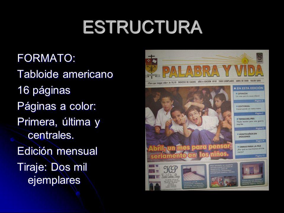 ESTRUCTURA FORMATO: Tabloide americano 16 páginas Páginas a color: Primera, última y centrales.