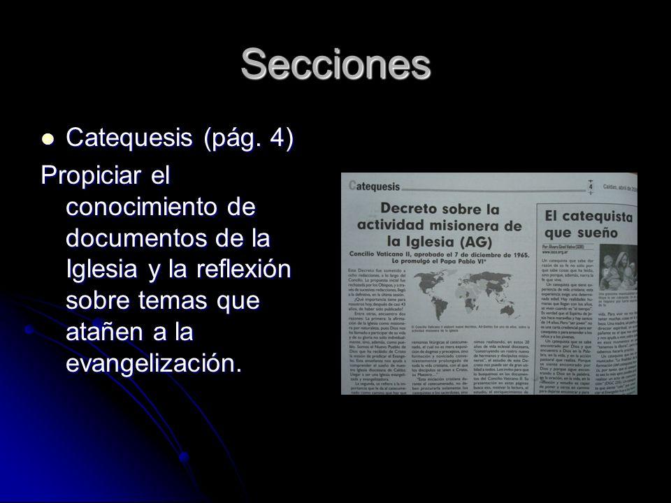 Secciones Catequesis (pág. 4) Catequesis (pág.