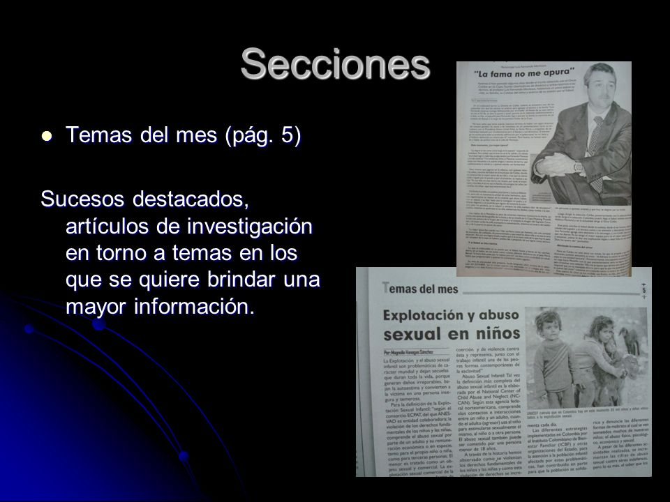 Secciones Temas del mes (pág. 5) Temas del mes (pág.