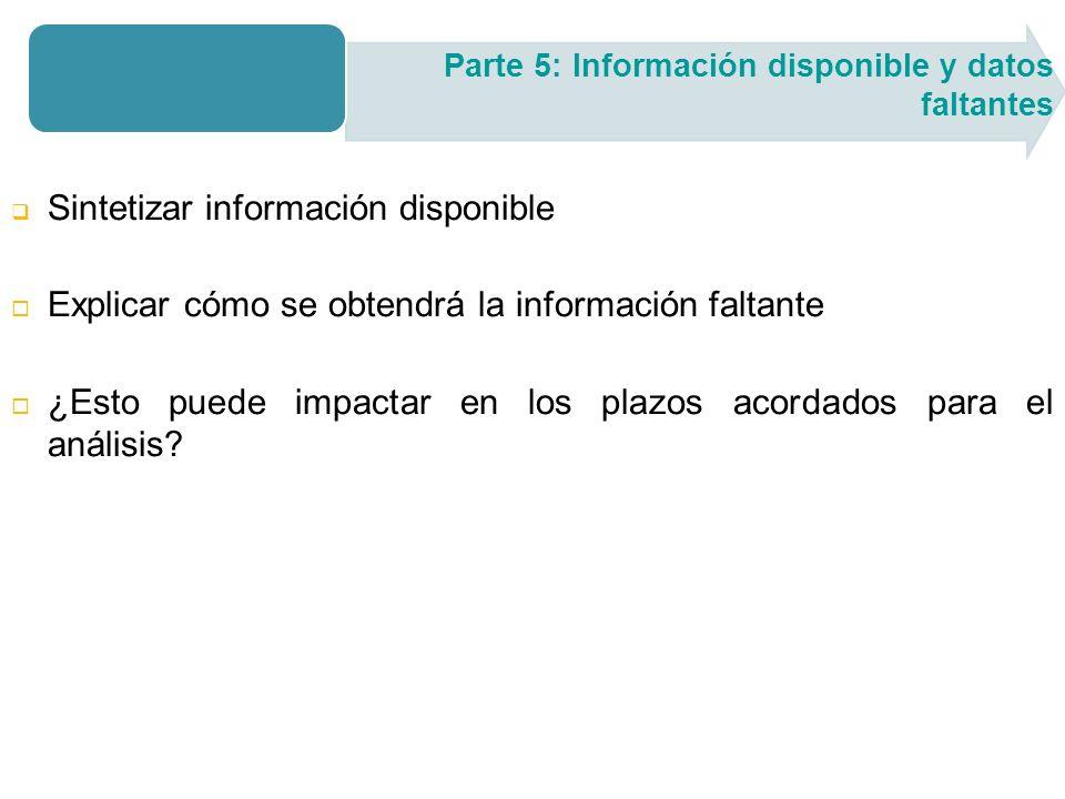 Sintetizar información disponible Explicar cómo se obtendrá la información faltante ¿Esto puede impactar en los plazos acordados para el análisis.