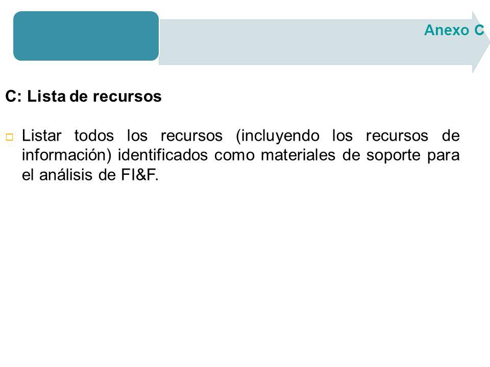 C: Lista de recursos Listar todos los recursos (incluyendo los recursos de información) identificados como materiales de soporte para el análisis de FI&F.