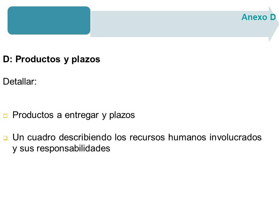 D: Productos y plazos Detallar: Productos a entregar y plazos Un cuadro describiendo los recursos humanos involucrados y sus responsabilidades Anexo D