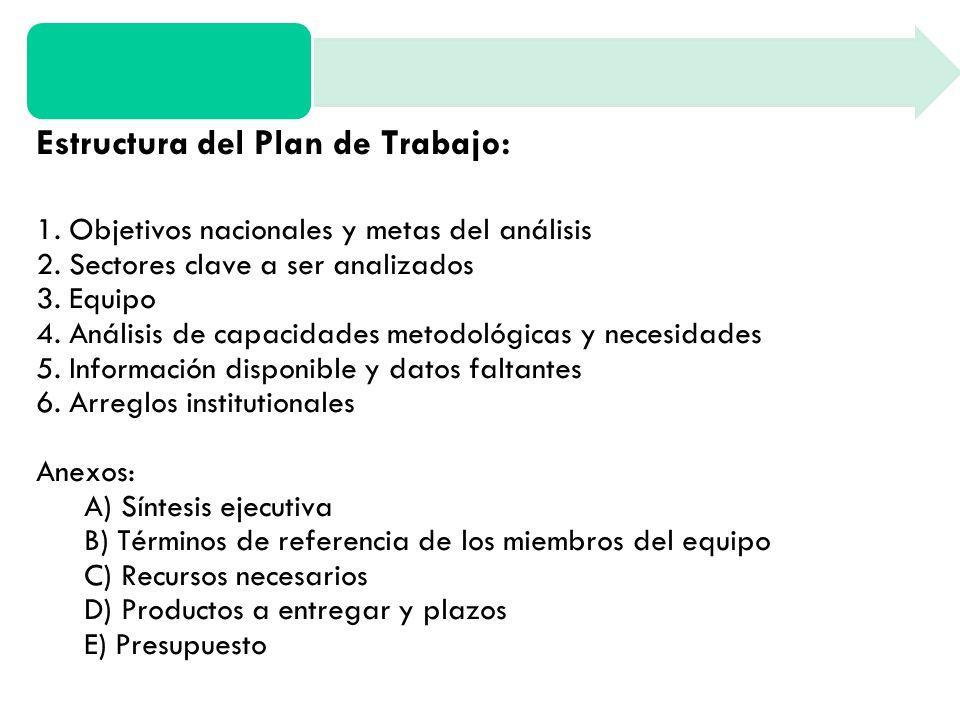 Estructura del Plan de Trabajo: 1. Objetivos nacionales y metas del análisis 2.