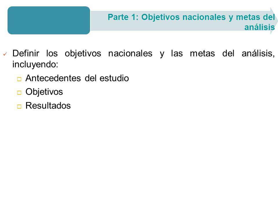 Definir los objetivos nacionales y las metas del análisis, incluyendo: Antecedentes del estudio Objetivos Resultados Parte 1: Objetivos nacionales y metas del análisis