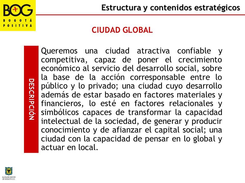 Estructura y contenidos estratégicos CIUDAD GLOBAL DESCRIPCIÓN Queremos una ciudad en donde se respete y garantice el ejercicio y cumplimiento de los
