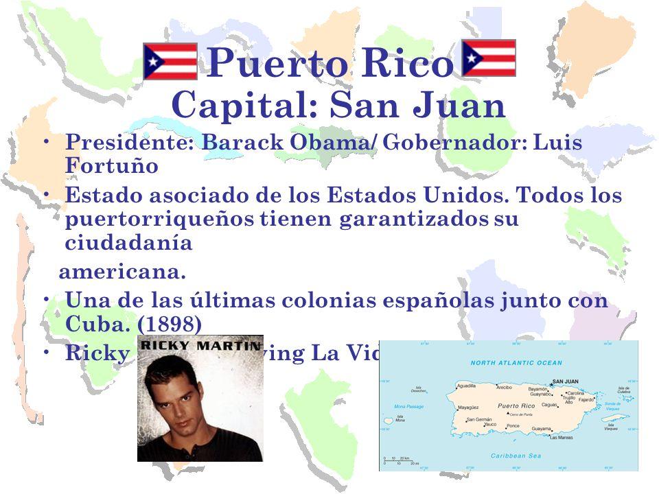 Puerto Rico Capital: San Juan Presidente: Barack Obama/ Gobernador: Luis Fortuño Estado asociado de los Estados Unidos. Todos los puertorriqueños tien