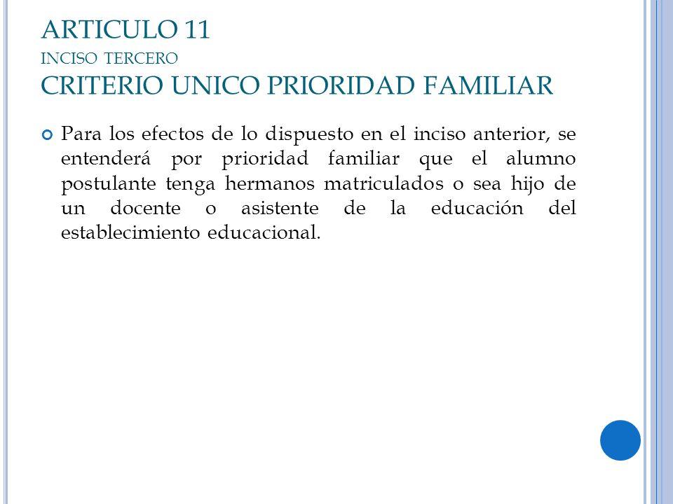 ARTICULO 11 INCISO TERCERO CRITERIO UNICO PRIORIDAD FAMILIAR Para los efectos de lo dispuesto en el inciso anterior, se entenderá por prioridad famili