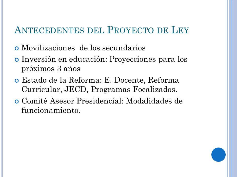 A NTECEDENTES DEL P ROYECTO DE L EY Movilizaciones de los secundarios Inversión en educación: Proyecciones para los próximos 3 años Estado de la Refor