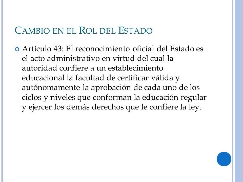 C AMBIO EN EL R OL DEL E STADO Artículo 43: El reconocimiento oficial del Estado es el acto administrativo en virtud del cual la autoridad confiere a