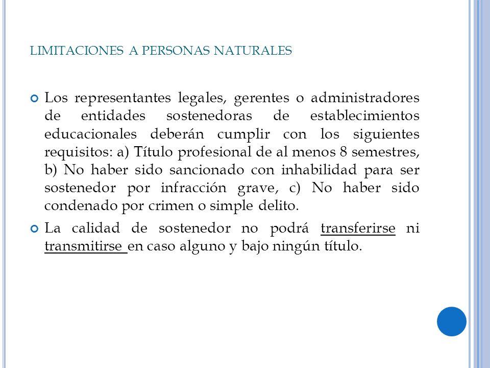 LIMITACIONES A PERSONAS NATURALES Los representantes legales, gerentes o administradores de entidades sostenedoras de establecimientos educacionales d