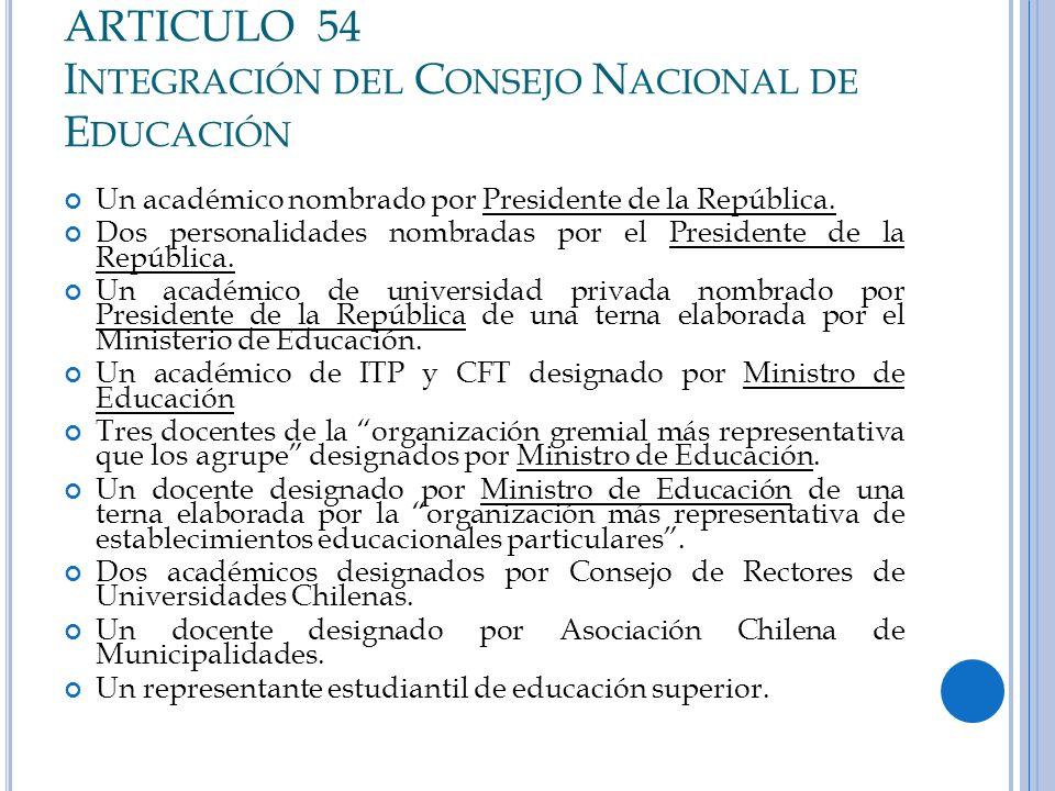 ARTICULO 54 I NTEGRACIÓN DEL C ONSEJO N ACIONAL DE E DUCACIÓN Un académico nombrado por Presidente de la República. Dos personalidades nombradas por e