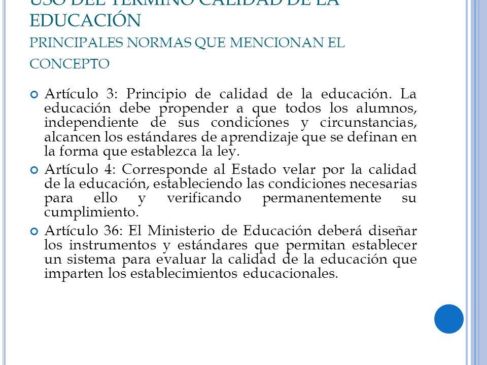 USO DEL TERMINO CALIDAD DE LA EDUCACIÓN PRINCIPALES NORMAS QUE MENCIONAN EL CONCEPTO Artículo 3: Principio de calidad de la educación. La educación de