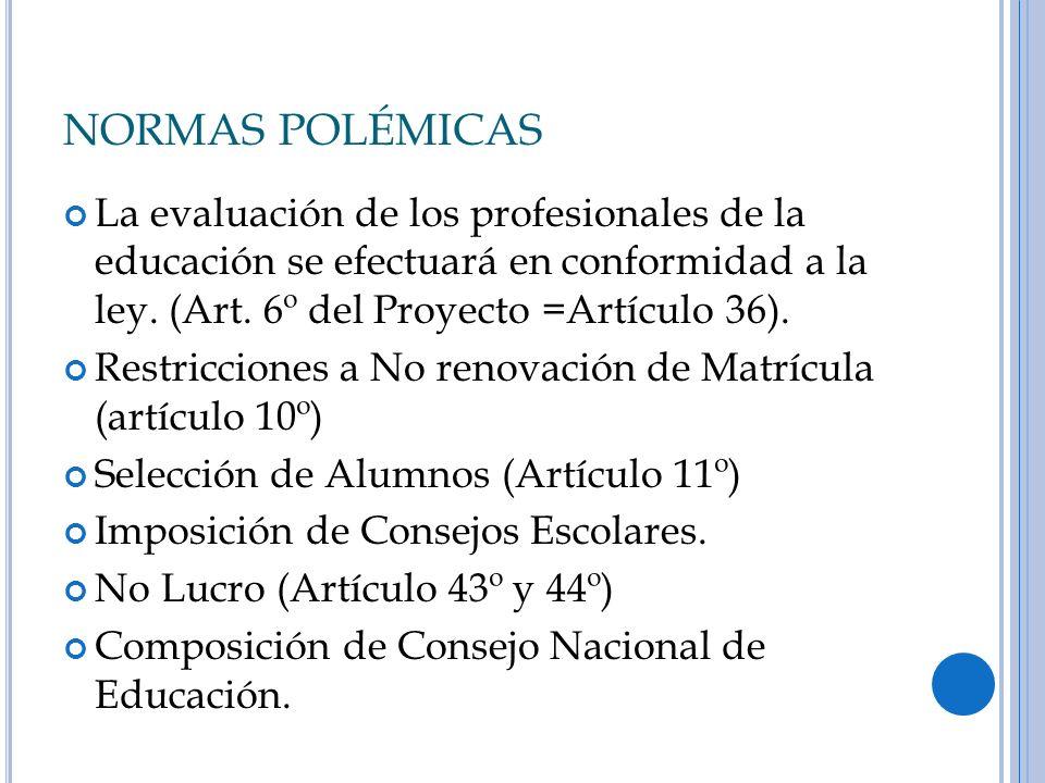 NORMAS POLÉMICAS La evaluación de los profesionales de la educación se efectuará en conformidad a la ley. (Art. 6º del Proyecto =Artículo 36). Restric