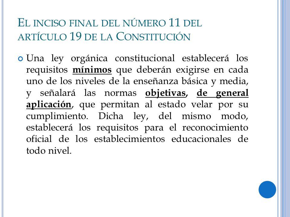 E L INCISO FINAL DEL NÚMERO 11 DEL ARTÍCULO 19 DE LA C ONSTITUCIÓN Una ley orgánica constitucional establecerá los requisitos mínimos que deberán exig