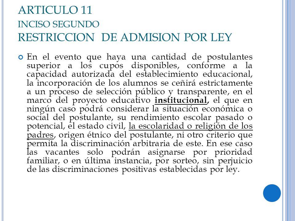 ARTICULO 11 INCISO SEGUNDO RESTRICCION DE ADMISION POR LEY En el evento que haya una cantidad de postulantes superior a los cupos disponibles, conform