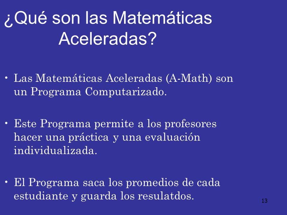 13 ¿Qué son las Matemáticas Aceleradas? Las Matemáticas Aceleradas (A-Math) son un Programa Computarizado. Este Programa permite a los profesores hace